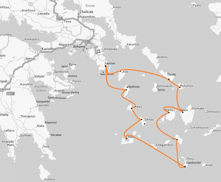lavrion 2 weeks itinerary Cosmopolitan vacation- Cyclades area